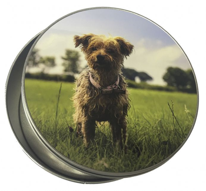 Personalised round tin for a unique gift or pet treats | Hot Graphix & Signs